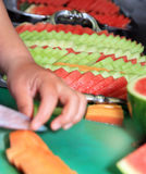 Fruits. Preparing fruits for buffet at restaurant Stock Images