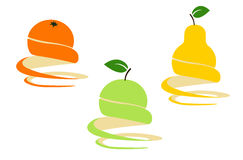 Fruits. Vector design elements; orange, apple, pear Stock Photo