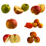 Fruits. Set of fruits: peaches, apples isolated Stock Images