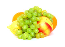 Fruits. Fresh fruits composition on a white background Stock Images