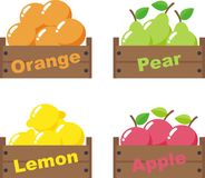 Fruits. Fruit for sale in the wood packaging stock illustration