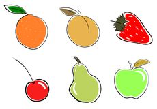 Set of stylized Fruits isolated Stock Images