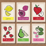 Fruits. Hand-drawn fruit label illustration collection Royalty Free Stock Images