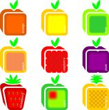 Fruits. Set of nine schematic fruits Stock Image