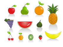 Fruits. Collection of fruit, isolated on white Stock Photos
