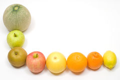 Fruits. Row of citrus and various fruits Royalty Free Stock Images