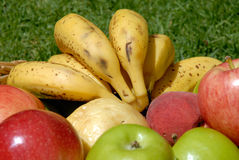 The fruits. (apples, peaches, bananes) in the basket stock photography