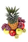 Fruits. Assortment of fresh fruits on white background royalty free stock photos