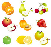 Fruits. Set of fruits icons and  illustration Stock Images