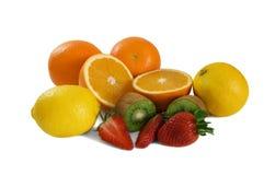Fruits. Fresh fruits - strawberry, kiwi, orange, lemon, isolated on white Stock Photo