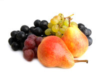 Fruits. Pear and grape on white background Stock Photography