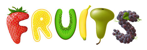 Fruits. The word fruits with the letters in the form of fruits, Vector Stock Image