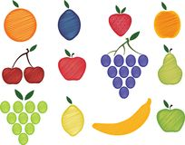 Fruits. Fruit collection, vector illustration, isolated Royalty Free Stock Photography