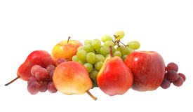 Fruits. Diferent multicolored fruits on white background Royalty Free Stock Image