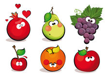 Fruits. Funny fruits including pomegranate, pear, grapes, cherry, orange and apple Royalty Free Stock Photography