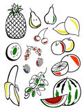 Fruits. A set of black silhouettes of fruits  with colored inserts Royalty Free Stock Images