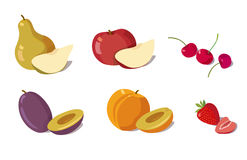 Fruits. Different fruits and berries. vector illustration Royalty Free Stock Photography