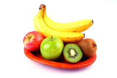 Fruits. Collection of Fresh Fruits containing Bananas, Apples and Kiwi. Good for diet program stock images
