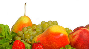 Fruits. Diferent fresh fruits on white background Royalty Free Stock Photography