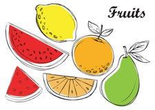 Fruits иллюстрация в векторе Стоковые Изображения RF