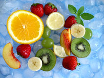 Fruits. Mixed fruits and ice royalty free stock image