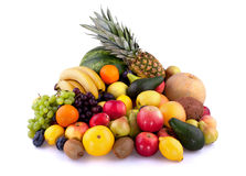 Fruits. Collection of different fruits on white background Royalty Free Stock Image