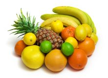 Fruits 4. Tropical fruits against white background Stock Image