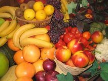 Fruits. Fruit, bananas, peaches, allsorts, oranges, grapes, lemons stock image