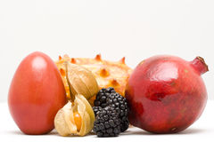 Fruits. Tropical fruits on white background Stock Photography