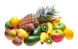 Fruits. Variety of fresh colorful fruits on white background royalty free stock photography