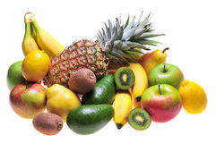 Fruits. Variety of fresh colorful fruits on white background royalty free stock images