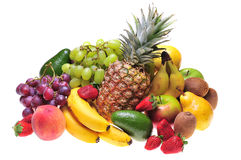 Fruits. Variety of fresh colorful fruits on white background stock image