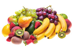 Fruits. Variety of fresh colorful fruits on white background royalty free stock image