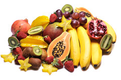 Fruits. Variety of fresh colorful fruits on white background stock photography