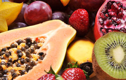 Fruits. Variety of fresh colorful fruits stock photography