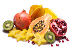 Fruits. Variety of fresh colorful fruits on white background royalty free stock photos
