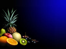 Fruits. Different kinds of fruits isolated on black background Royalty Free Stock Photos