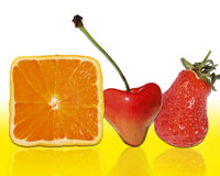 Fruits. Orange cherry strawberry wallpaper background Stock Photos