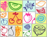 Fruits. Vector hand drawn color set Stock Photos