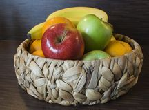 Fruits. Some fresh fruits in a basket royalty free stock photography