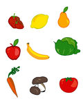 Fruits. The illustration of bright colorful fruits icons Stock Photo