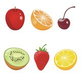 Fruits. Vector design element; apple, orange, cherry, kiwi, strawberry and lemon Royalty Free Stock Photos