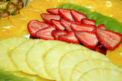 Fruits. Some fruits, strawberry, pinapple, kiwi and orange Royalty Free Stock Photo