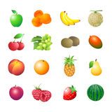 Fruits. Set of colorful isolated fruits for calorie table illustration Royalty Free Stock Photos