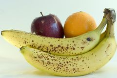 Fruits. Bananas, Orange and apple Royalty Free Stock Photos