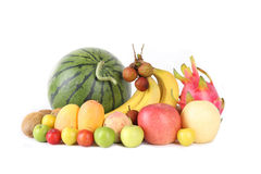 Fruits. Mixed fruits with white background royalty free stock photography