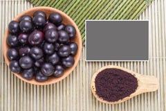 Fruits and acai powder Royalty Free Stock Photography