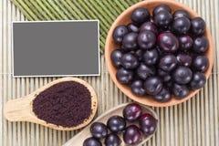 Fruits and acai powder Stock Images