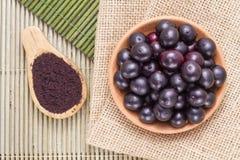 Fruits and acai powder Royalty Free Stock Image