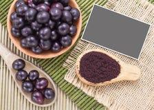 Fruits and acai powder Royalty Free Stock Photos